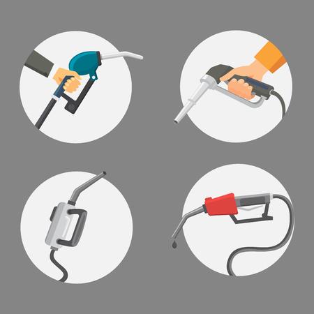 Filling gasoline station pistol in people hands refinery industry refueling petroleum tank service tool vector illustration Stock Vector - 97055630