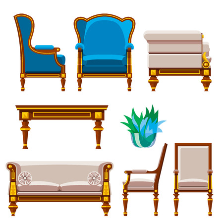 VIP vintage interior furniture rich wealthy house chair room with sofa couch seat set vector illustration.