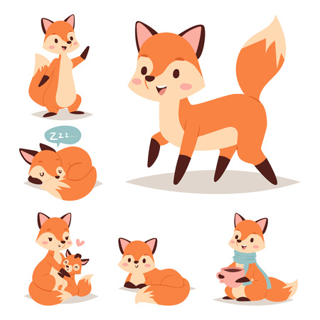 Fox cute adorable character doing different activities. Illustration
