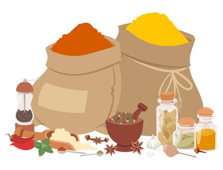 Seasoning food herbs natural healthy spices condiments organic vegetable vector ingredient. Vectores