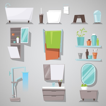Illustration set of furnished room for bathing and toilet at home isolated on background