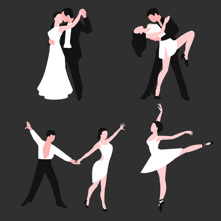 Couples dancing to latin music vector set