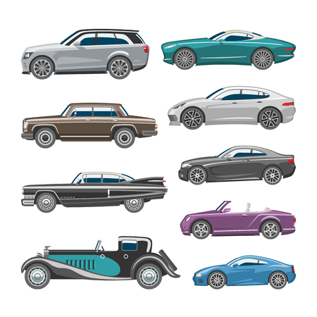 Set of Luxury retro car illustration