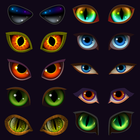 Cartoon eyes vector of devil eyeballs set isolated on black background