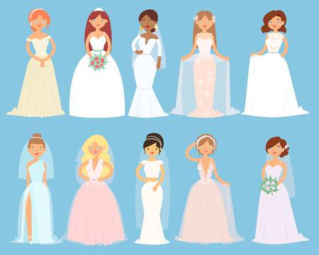Wedding dresses on woman vector set Vettoriali