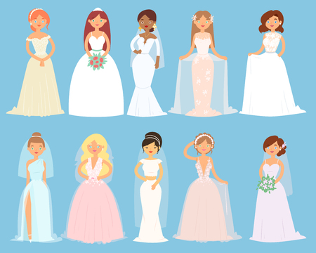 Wedding dresses on woman vector set Illustration