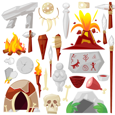 Stone age vector primeval neanderthal stoned weapon axe and prehistoric primitive spear of ancient caveman illustration of cave paintings and volcano or bonfire set isolated on white background Illustration