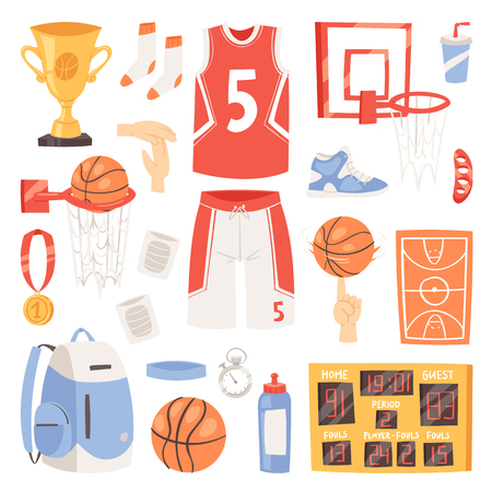 Basketball vector sportswear and ball in net hoop on basketball court. illustration set of sportsman clothes for gym isolated on white background Vektorové ilustrace
