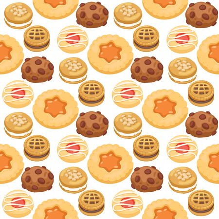 Cookie cakes top view sweet homemade breakfast bake food biscuit pastry seamless pattern background vector illustration. Illustration