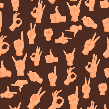 Hands deaf-mute gestures human pointing arm people gesturing communication message seamless pattern background vector illustration. Vettoriali