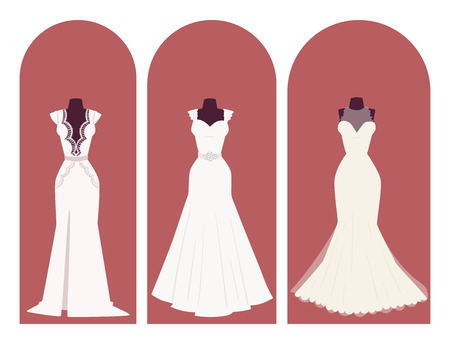 Wedding bride dress elegance style celebration bridal shower clothing accessories vector illustration.