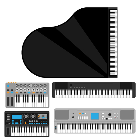Keyboard musical instruments vector classical piano melody studio acoustic shiny musician equipment electronic sound illustration.