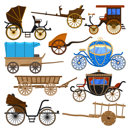 Carriage vector vintage transport with old wheels and antique transportation illustration. Set of royal coach and chariot or wagon for traveling isolated on white background.
