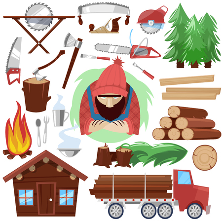 Timber vector lumberman character and logger saws lumber or hardwood. Set of wooden timbered materials in sawmill and lumberjack, isolated on white background.