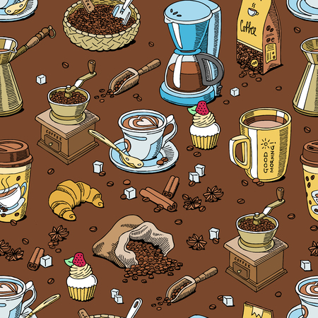Coffee set coffee beans and coffee cup vector drink hot espresso or cappuccino in coffee shop and mug with caffeine in bar illustration. Seamless pattern background. Illustration