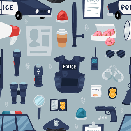 Police vector policy signs of policeman and police car illustration. Set of or police officers bulletproof vest and handcuffs in police-office symbols seamless pattern background.