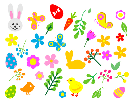 Easter eggs vector floral decor elements. Painted spring pattern decoration multi colored vintage ornament. Organic food holiday game symbol illustration.