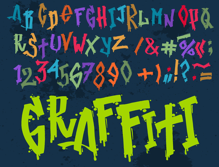 Hand drawn grunge font paint symbol design. Detailed vector alphabet graffiti text brush graphic ink.