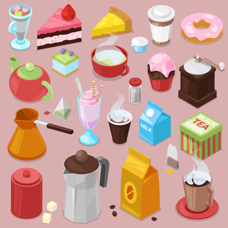 Dessert cake vector drink coffee or tea with baked cupcake and sweet doughnut in cafe illustration. Set of coffee cups and caked biscuits from menu in coffee shop, isolated on background. Illustration