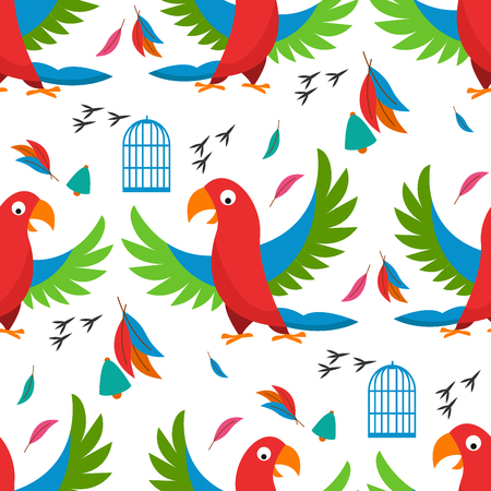 Illustration of a seamless pattern of birds, cages and feathers on a white background.