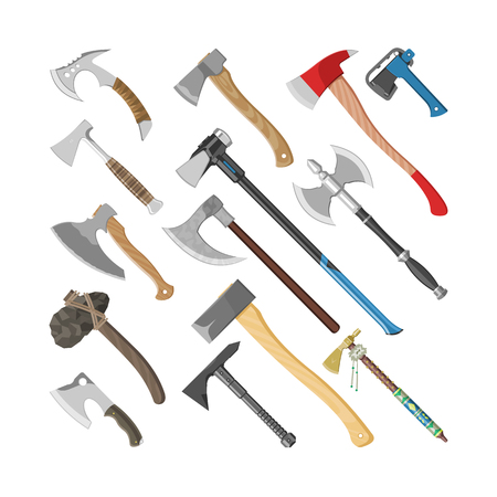 Ax vector metal ax equipment with wooden handle illustration. Set of hatchet with sharp blade for construction and ancient tool. Isolated on white background.