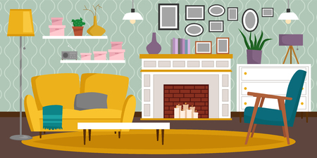 VIP vintage interior furniture rich wealthy house room with sofa set brick wall background vector illustration. Illustration