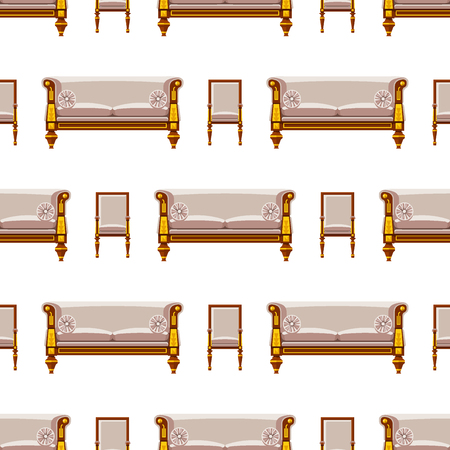 VIP vintage interior furniture. Rich wealthy house, chair, room with sofa, couch seat seamless pattern background. Vector illustration.