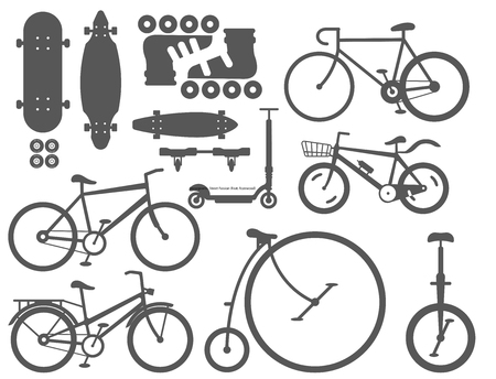 Active city transport, Eco alternative energy. Bike, scooter one and two-wheeled mobility electronic vehicle. Vector illustration.