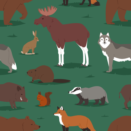 Forest animals vector cartoon animalistic characters bear fox and wild wolf or boar in woodland illustration set of elk hedgehog and squirrel isolated seamless pattern background