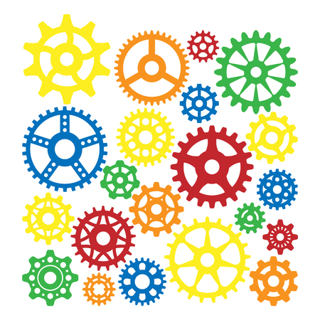 Gear icons silhouette isolated engine wheel equipment machinery element vector illustration. Illustration