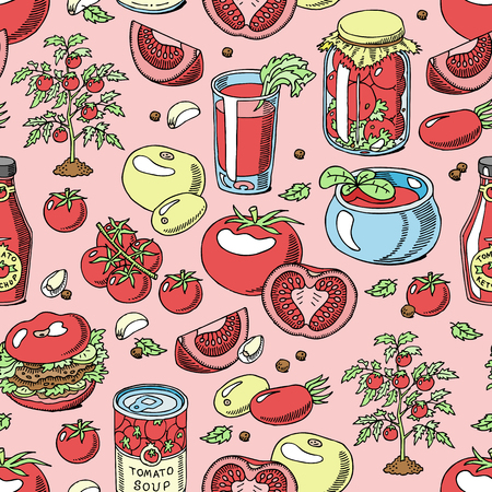 Tomato vector juicy tomatoes food sauce ketchup soup and paste with fresh red vegetables illustration organic ingridients for vegetarians diet set seamless pattern background Illustration