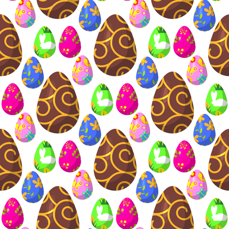 Easter eggs painted with spring decoration pattern.