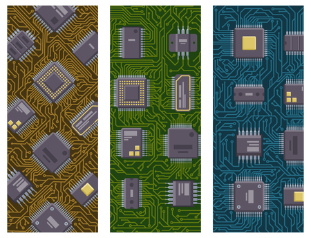 CPU microprocessors microchip brochure vector illustration hardware component equipment.