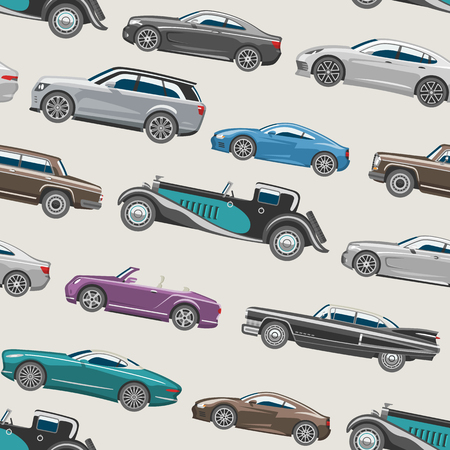 Luxury car illustration for automotive industry seamless pattern background