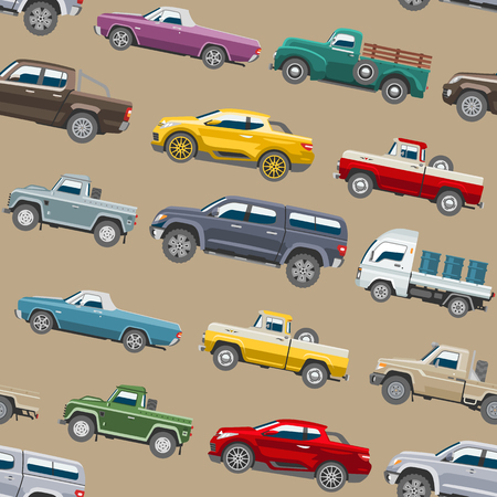 Illustration of a pattern of pickup cars on a brown background Illustration