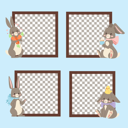 Easter rabbit character bunny different cards pose vector cute happy spring animal banner illustration. Illustration