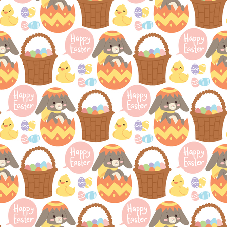 Easter rabbit vector holiday bunny rabbit and Easter eggs pose cute happy spring adorable rabbit animal illustration happy family celebration seamless pattern background illustration