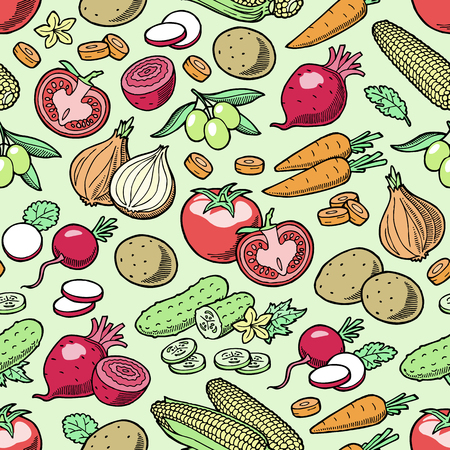 Vegetables vector healthy nutrition of  tomato pepper and carrot for vegetarians eating organic food from grocery illustration vegetated set diet isolated seamless pattern background