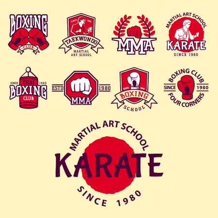 Set of cool fighting club emblems, labels, badges, logos. Martial training champion graphic style. Punch sport fist karate vintage symbol vector illustration.