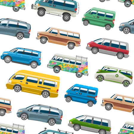 Minivan car vector van auto vehicle family minibus vehicle and automobile banner isolated city car on white seamless pattern background