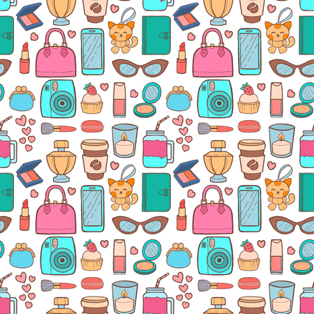 Cute hipster stickers scrapbook seamless pattern background drawing vector illustration fashion patch pop design hand drawn badges.