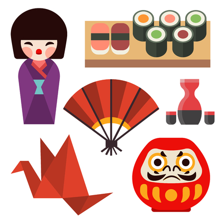 Vector flat colored symbols of Japan travel and asia tourism design packaging fabric traditional  oriental architecture art.