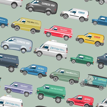 Van car vector minivan auto vehicle delivery cargo or family minibus truck and automobile banner isolated van city car on seamless pattern background.