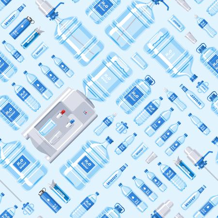Water bottle vector water drink liquid aqua bottled in plastic container illustration set of bottling water cooler seamless pattern background