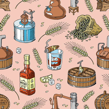 Whiskey vector alcohol beverage brandy in glass and drink scotch or bourbon in bottle illustration set of distillation seamless pattern background Vettoriali