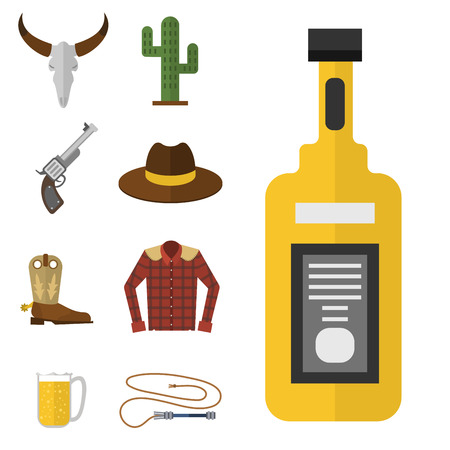 Wild western vector cowboy icons rodeo equipment and many different western wild west accessories illustration