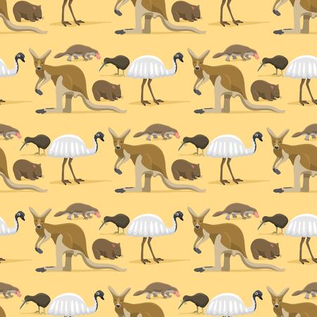 Australia wild animals cartoon popular nature characters flat style mammal seamless pattern background vector illustration.