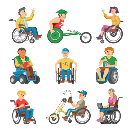 Disabled people in wheelchair vector character of handicapped person with physical disability illustration set of invalid man sitting in wheeled chair with isolated on white background.