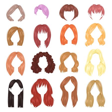 peinado mujer de pelo corto de la mujer del vector en corto o pelo largo y barbería ilustración peluquería o corte de pelo con el colorante aislado en el fondo blanco