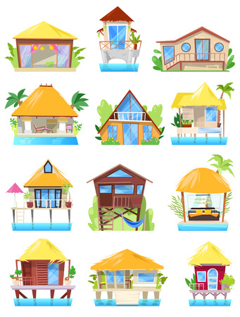 Villa vector tropical on beach or facade of house building in paradise illustration set of bungalow in village isolated on white background.